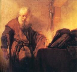 «Апостол Павел за письменным столом». Рембрандт, 1629-30.